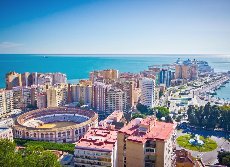 スペイン マラガのダウンタウンの風景