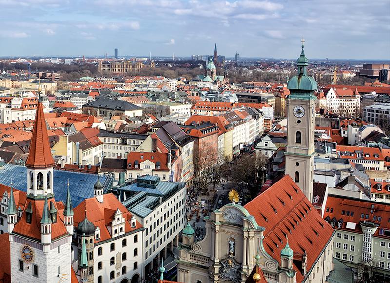 ドイツ ミュンヘンの旧市街の景色