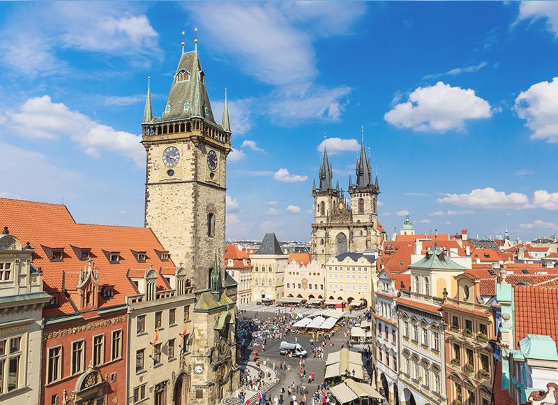チェコ プラハの旧市街地区の美しい建物