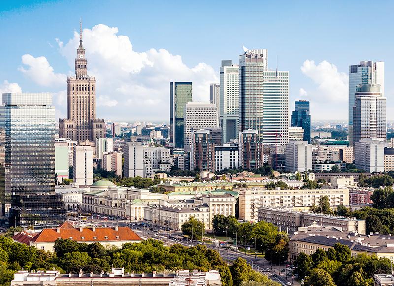 ポーランド ワルシャワのダウンタウン