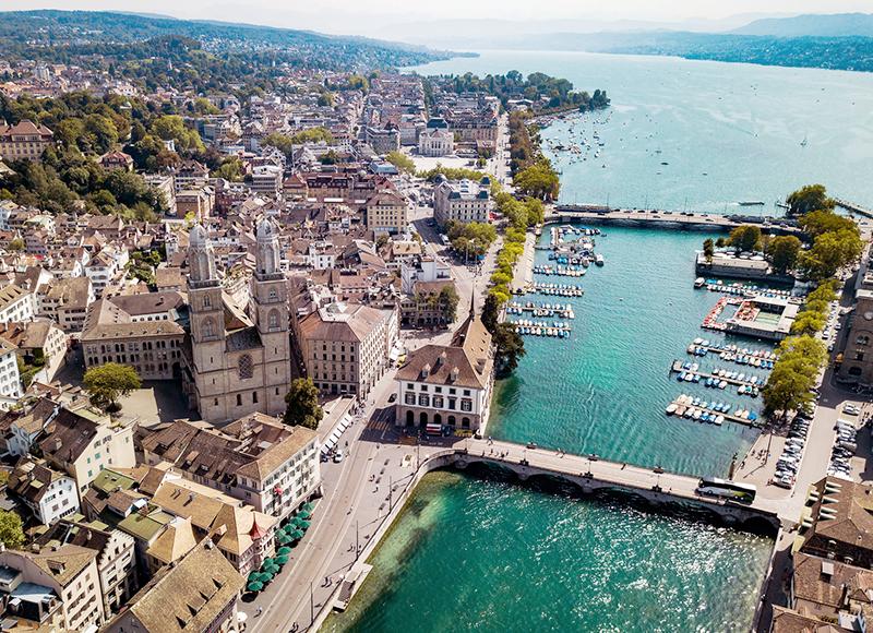 スイス チューリッヒの上空からの眺め